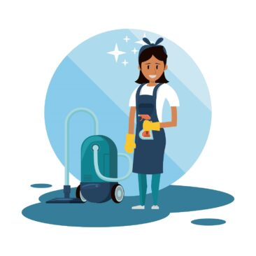 Cleaner smiling and working with cleaning product vector illustration